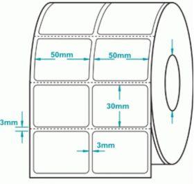 Giấy Decal cảm nhiệt 02 tem 50x30mm, 50m